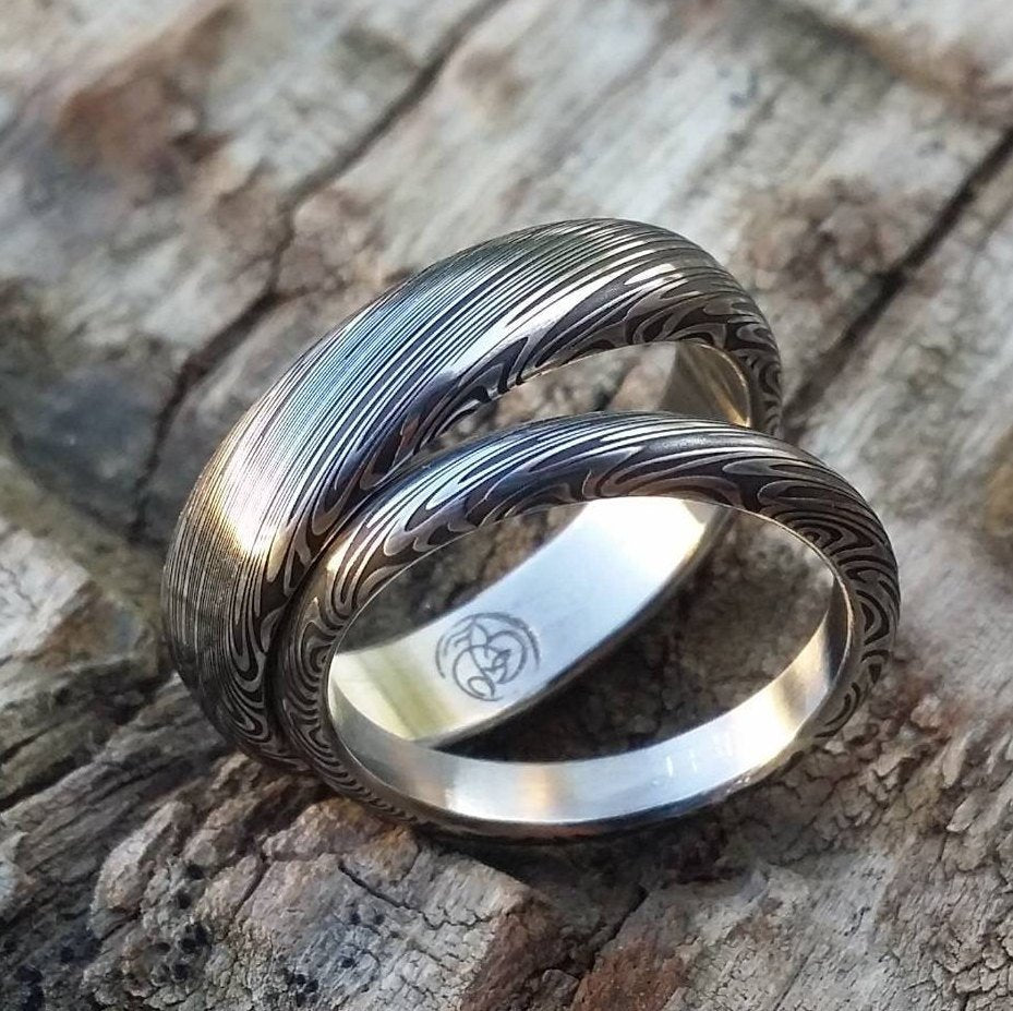 "Genuine Damascus ring set Stainless steel Damascus  ""TRADITIONAL"" dark leaf pattern rings! Damascus steel ring his and hers set"
