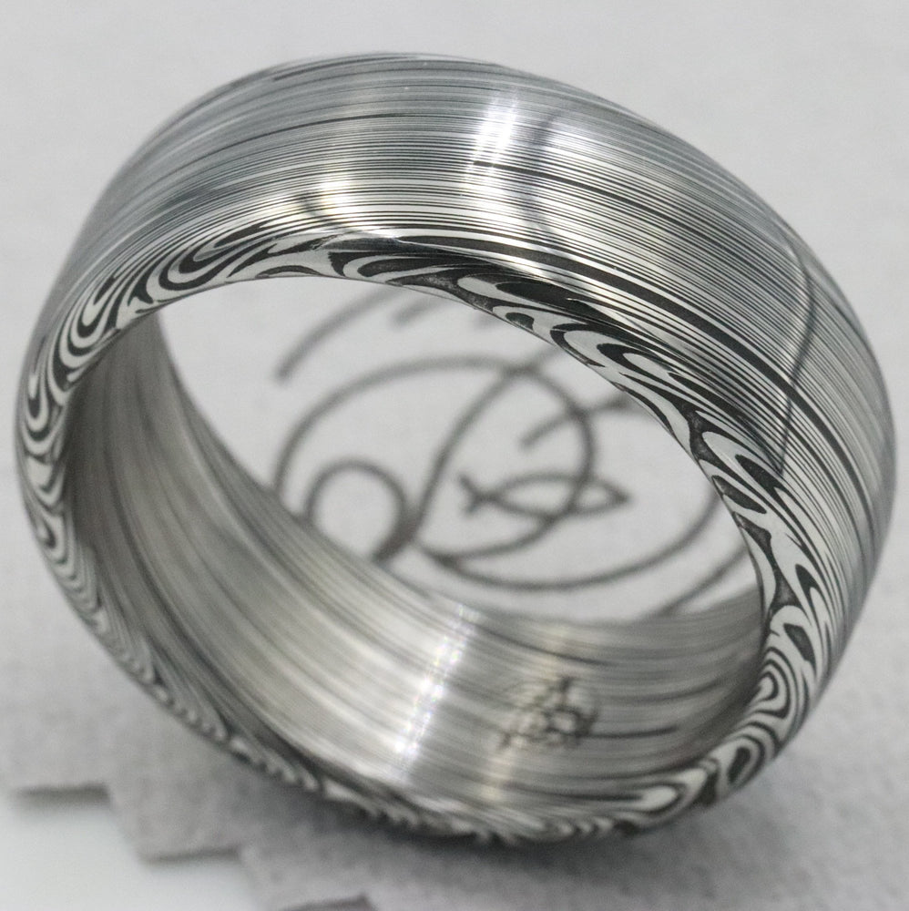 "8mm Damascus steel ring Stainless steel Damascus damasteel ""dark leaf"" Customizable ring! Darker color etch. Mens wedding band mens rings"