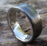"8mm damascus steel ring Platinum & Stainless Damascus damasteel ring ""leaf"" pattern  ( customizable) damascus steel"