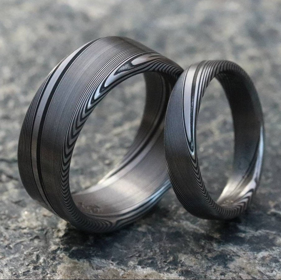 "Two Genuine Damascus ring set Stainless steel Damascus  ""TRADITIONAL"" woodgrain pattern rings! Damascus steel ring his and hers set"