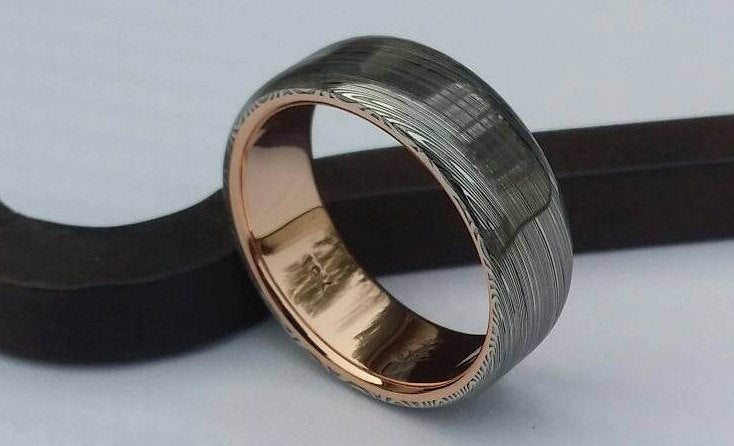 "Damascus steel ring 14k or 18k rose Gold & Stainless Damascus damasteel ring ""leaf"" pattern mens wedding band ( customizable)"