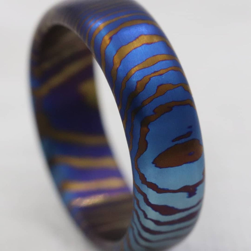 "Solid Timascus ""675 tiger"" ring 6.75mm wide timascus ring, mokuti ring tiger ring"
