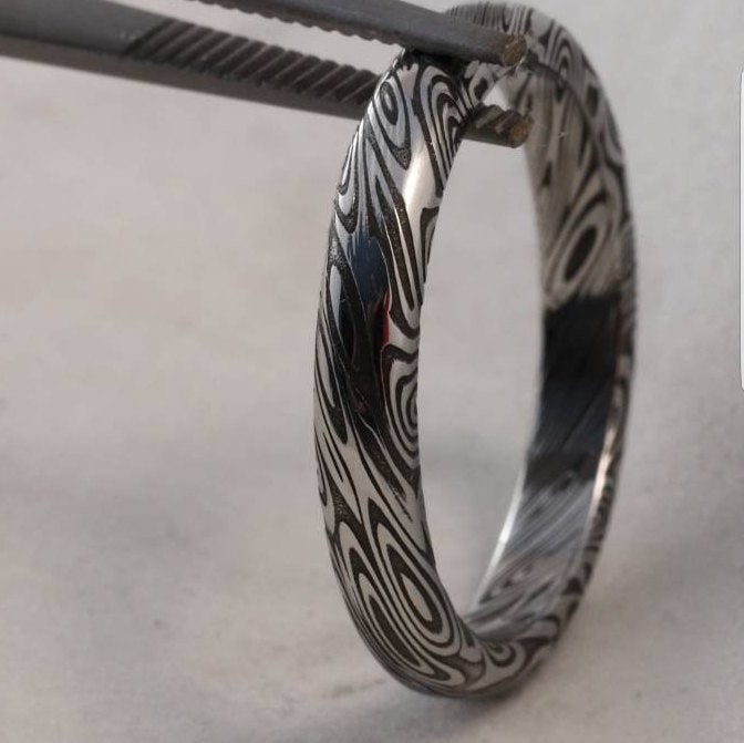 "Damascus steel ring dark finish  ""dark coral"" stainless, damascus ring womens rings , womens rings ,"