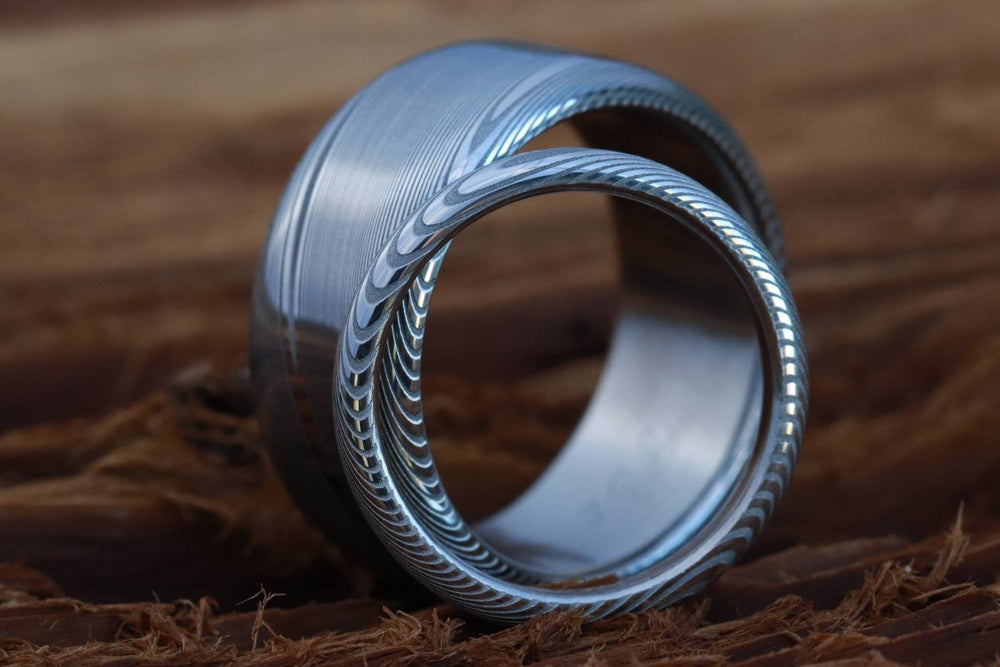 "Two Genuine Damascus ring set Stainless steel Damascus  ""traditional"" wood-grain pattern (natural finish) rings Damascus steel ring"