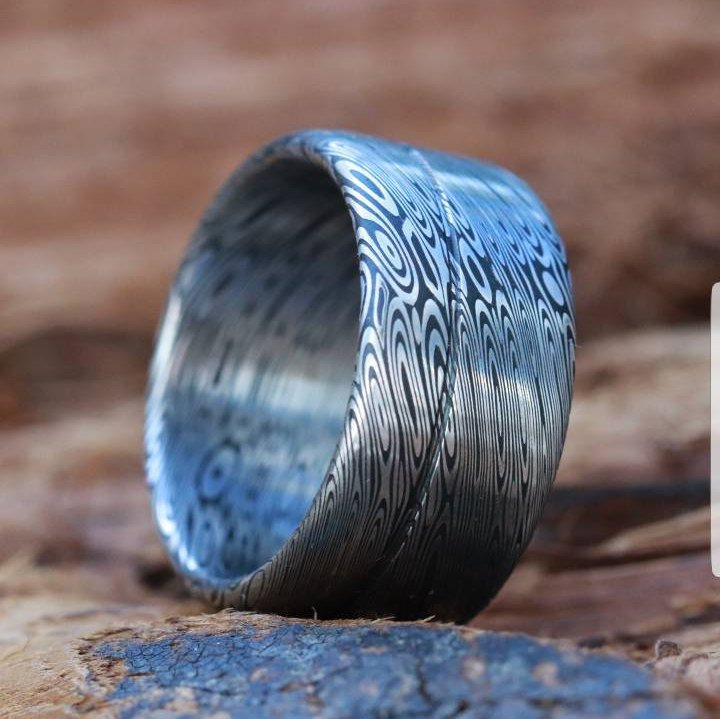 "Stainless steel Damascus (deep etch) ""dark coral"" 10-12mm Customizable ring! Damascus steel ring, damascus ring, genuine damascus"