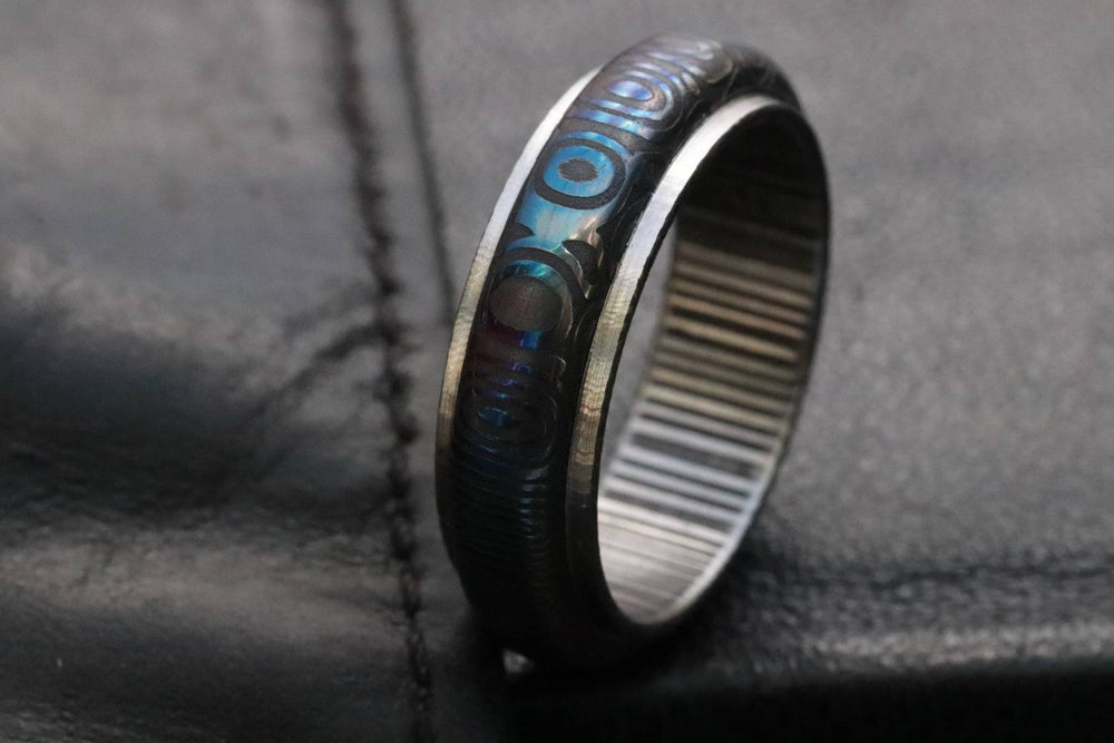 "Stainless Damascus ""traditional -black & blue twist""   Customizable ring! Mens wedding band damascus steel ring, mens rings"