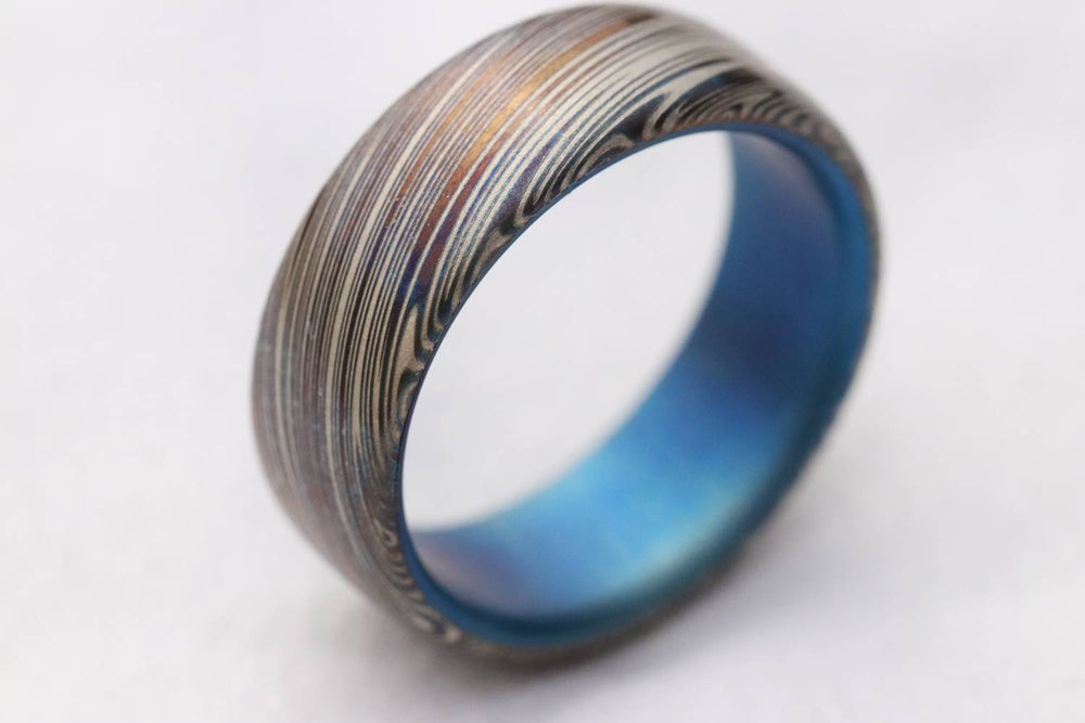 "New *8mm Titanium lined  Damasteel Stainless Damascus ""leaf"" damascus steel ring,  damascus ring titanium ring, blue ring, mens rings"