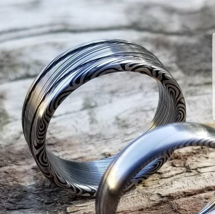 "Damascus steel ring - Stainless steel Damascus ""LEAF"" Customizable ring! Dark/ color etch / double grooved damasteel weddingband mens rings"