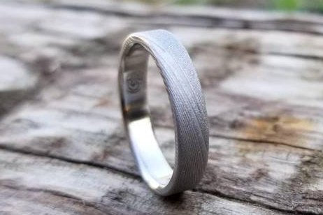 "Stainless steel Damascus ring sandblasted  ""WOODGRAIN"" pattern, damascus steel ring,  damascus ring Customizable mens damasteel ring"