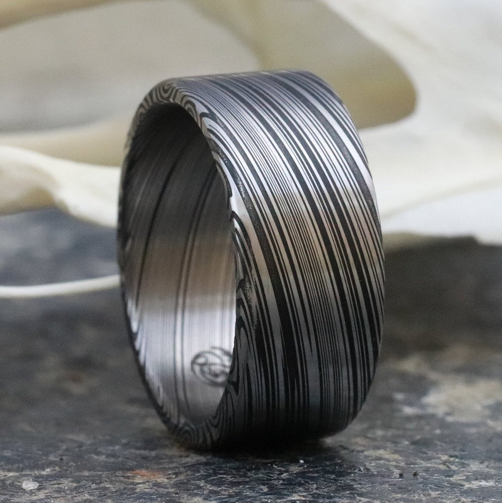 "10mm Damascus steel ring Stainless Damasteel ""dark leaf"" Customizable ring! Darker color etch. Damascus steel ring mens rings wedding band"