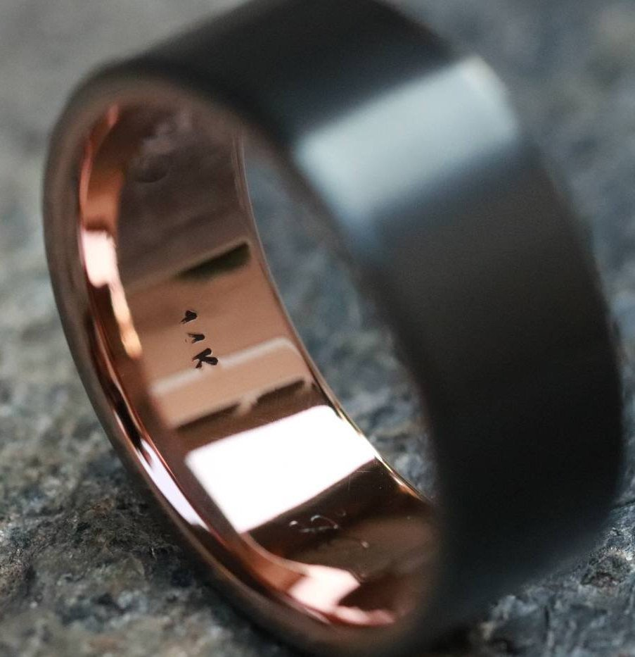 Zirconium and rose gold 14k or 18k rose ring 10mm mens wedding bands (customizable)