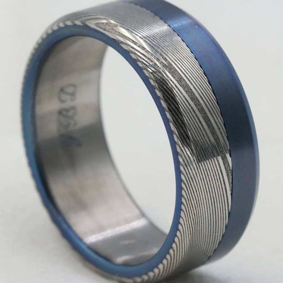 Titanium Damascus Steel Ring Stainless Damasteel Titanium Ring