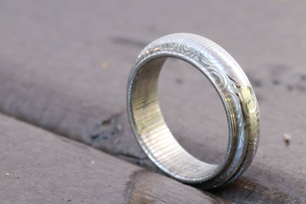 Damascus steel ring, stainless damasteel,mens  rings, hypoallergenic mens wedding band 6mm ring