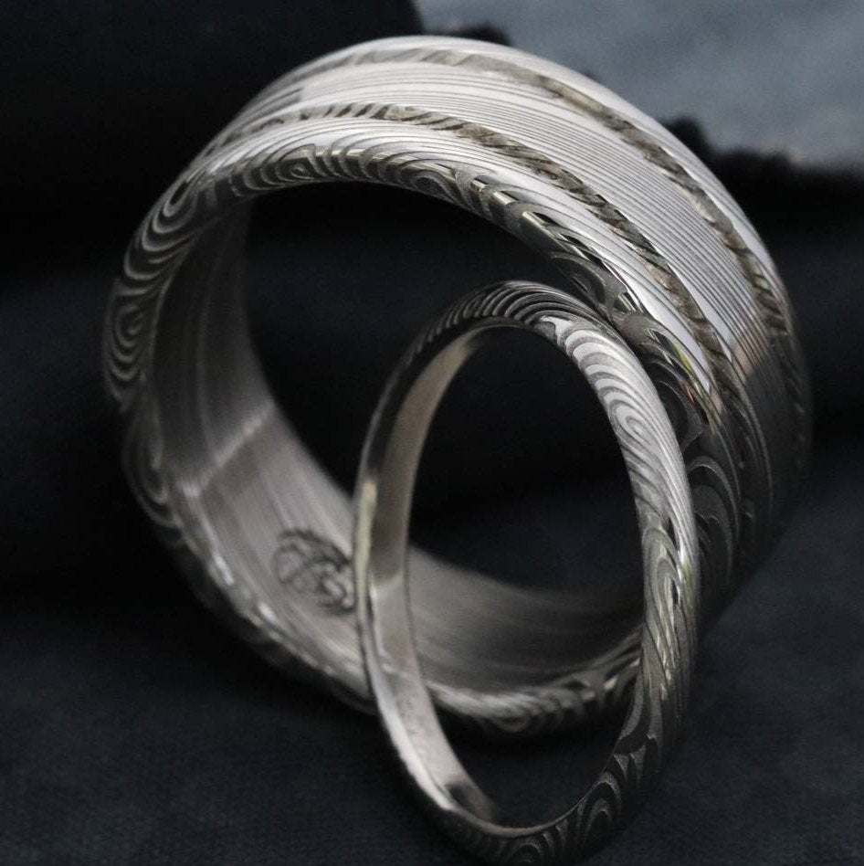 "Limited edition** Damascus steel ring Stainless steel Damascus ""LEAF"" Customizable ring! Natural / matching damasteel weddingband set"