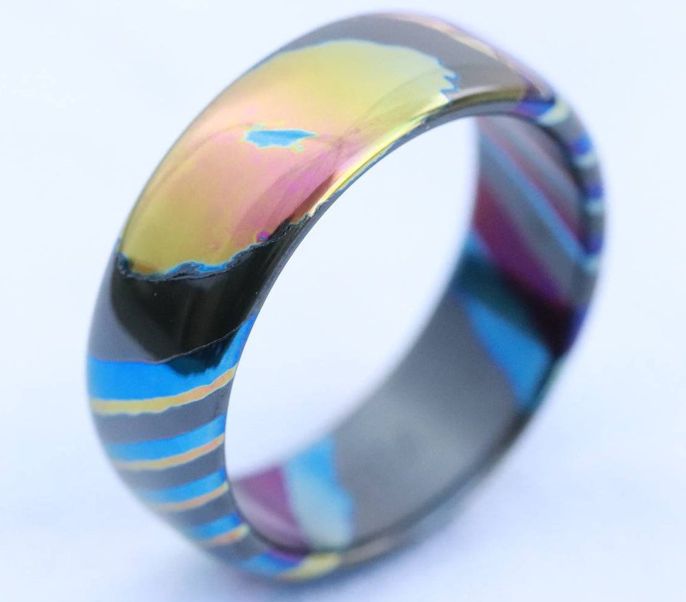 LIMITED EDITION***DARK Black ZrTi ring 8mm (semi-polished) timascus ring, mokuti ring, colorful ring, darkti, Zirconium, black timascus