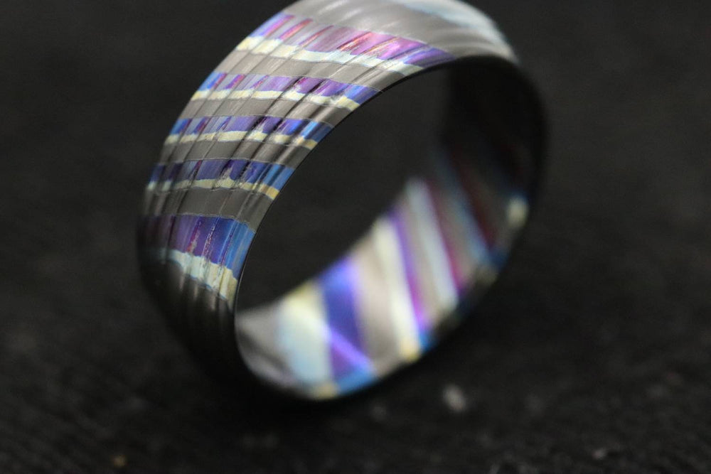 LIMITED EDITION***DARK Black Timascus  ring 8mm (semi-polished) timascus ring, mokuti ring, colorful ring, hypoallergenic jewelry, Zirconium