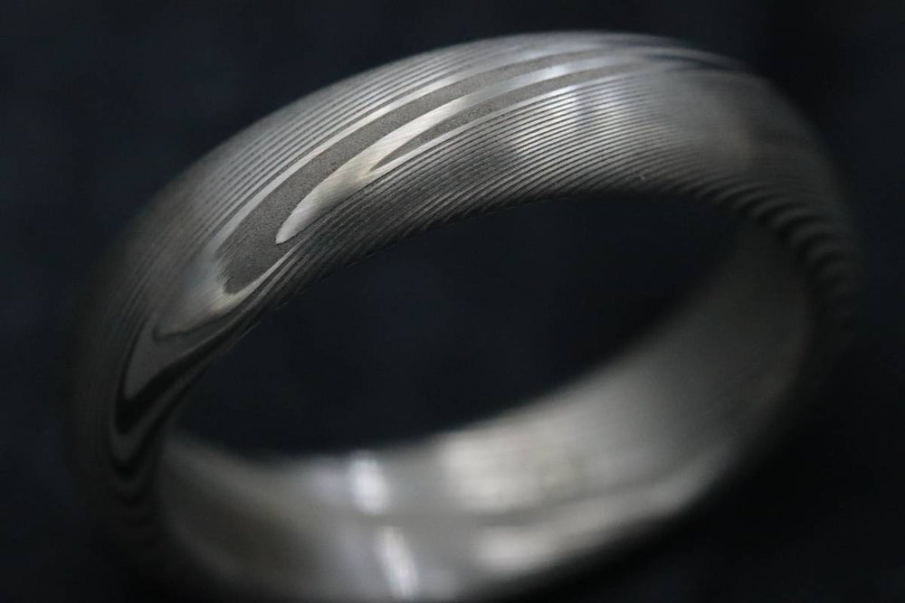 "Damascus steel ring Stainless steel Damascus 5.25mm ""TRADITIONAL"" wood-grain disgn (natural finish) ring! Mens wedding band wedding rings"