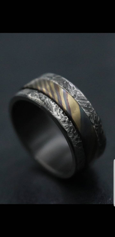 Black Zirconium,  zrti ring 10mm mens timascus ring, mokuti ring titanium damascus ring, mens rings weathered ring black ring