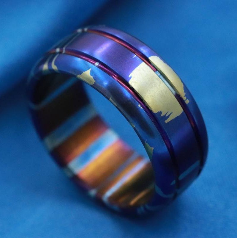 "LIMITED EDITION*** ""The Chip""Mokuti Timascus ring 8-10mm wide timascus ring, mokuti ring titanium ring mens ring doubled mens ring"
