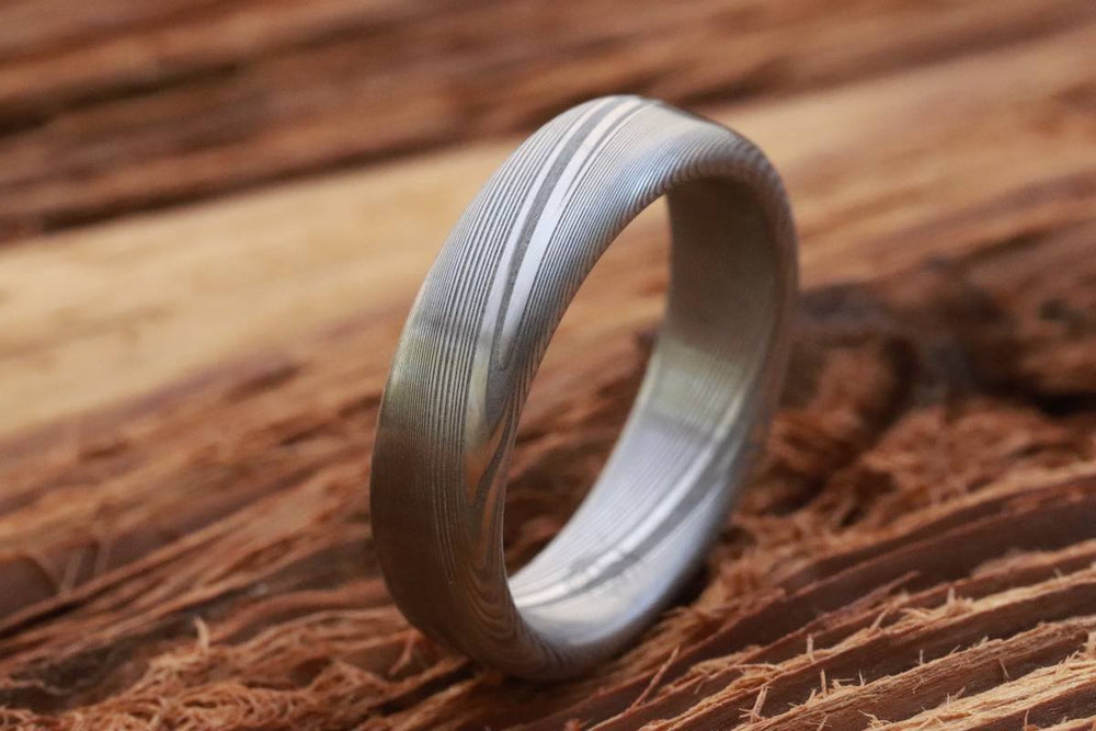 "Damascus ring Stainless steel Damascus ""WOODGRAIN"" Med /light color etch genuine damascus steel ring mens rings 6mm damasteel ring"