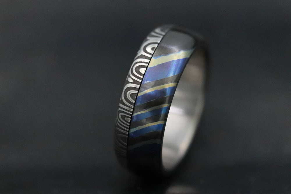 "New*8mm Black Timascus / mokuti & Stainless Damascus steel ""bamboo"" pattern timascus ring,black timascus ring, mokuti ring dark-ti zrti ring"