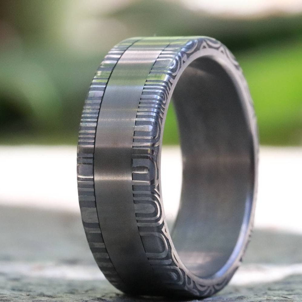 Titanium ring & damascus steel ring Stainless Damascus damasteel ring