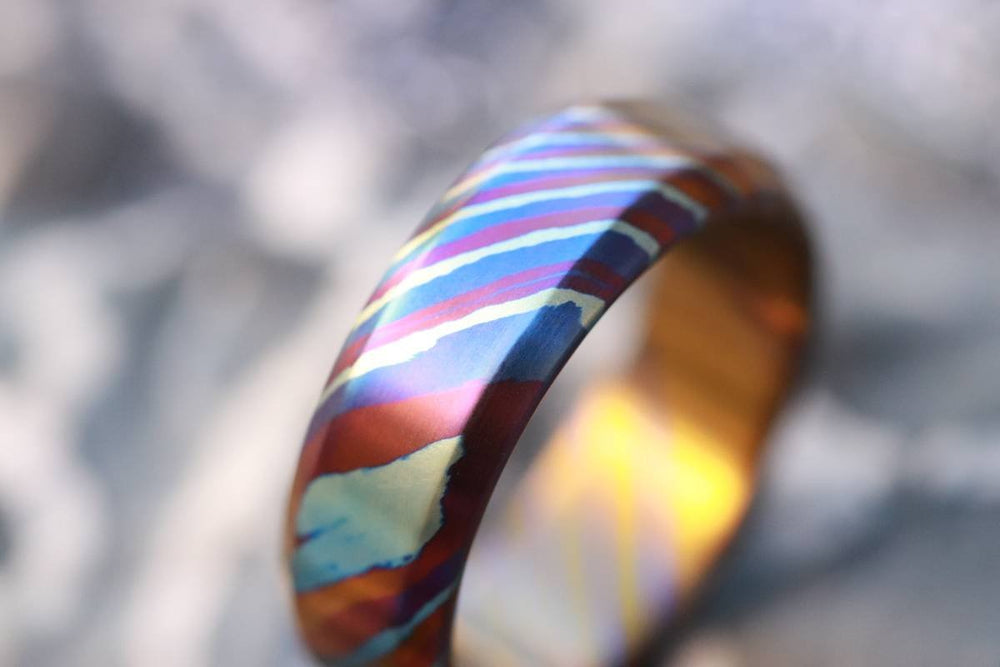 Solid Timascus ring 7-8mm ring  timascus ring, mokuti ring chamfered ring colorful ring wedding band