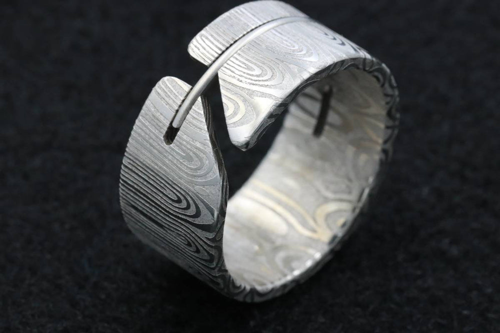 Stainless Steel Damascus  handmade ring damasteel mens ring customizable ring wedding band