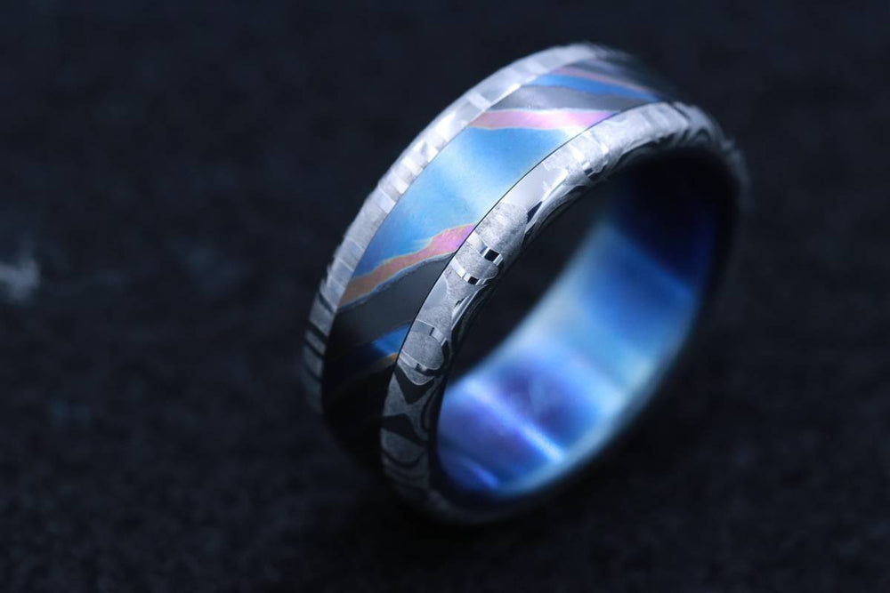 LIMITED EDITION***Solid Black Timascus,  zrti ring 8mm mens timascus ring, mokuti ring (polished finish) titanium ring,  mens rings