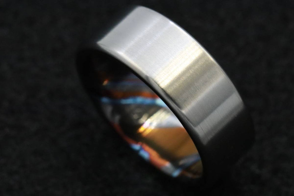 8mm titanium ring Black / ZrTi brushed titanium timascus ring,black timascus ring, mens rings weddingrings, zirconium damascus