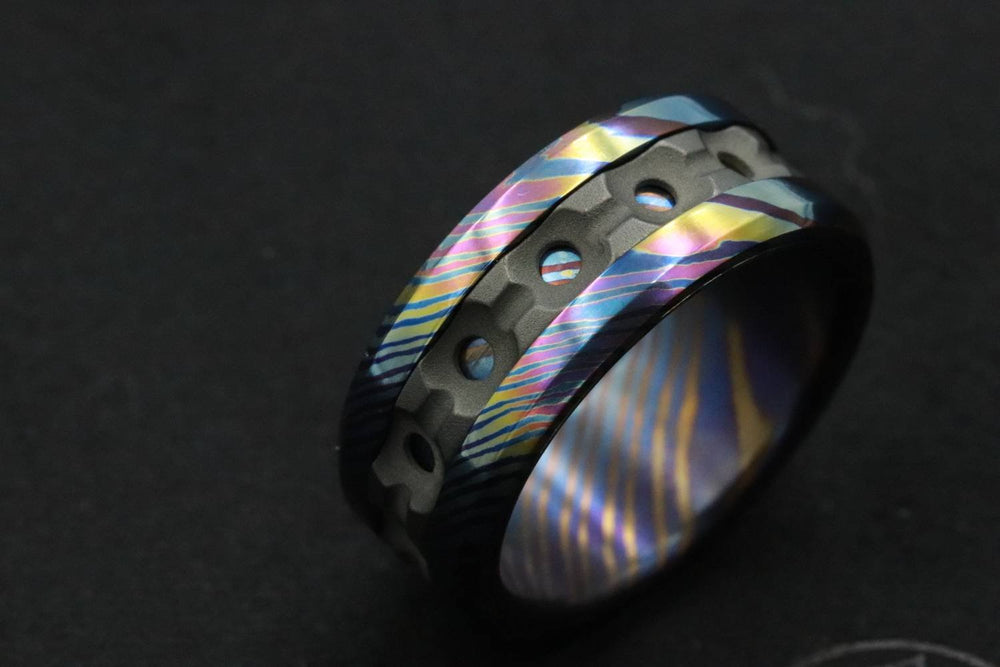 "Grayson"" Limited Edition Series-8mm Timascus / Mokuti timascus & zirconium ring,black timascus ring, mokuti ring"