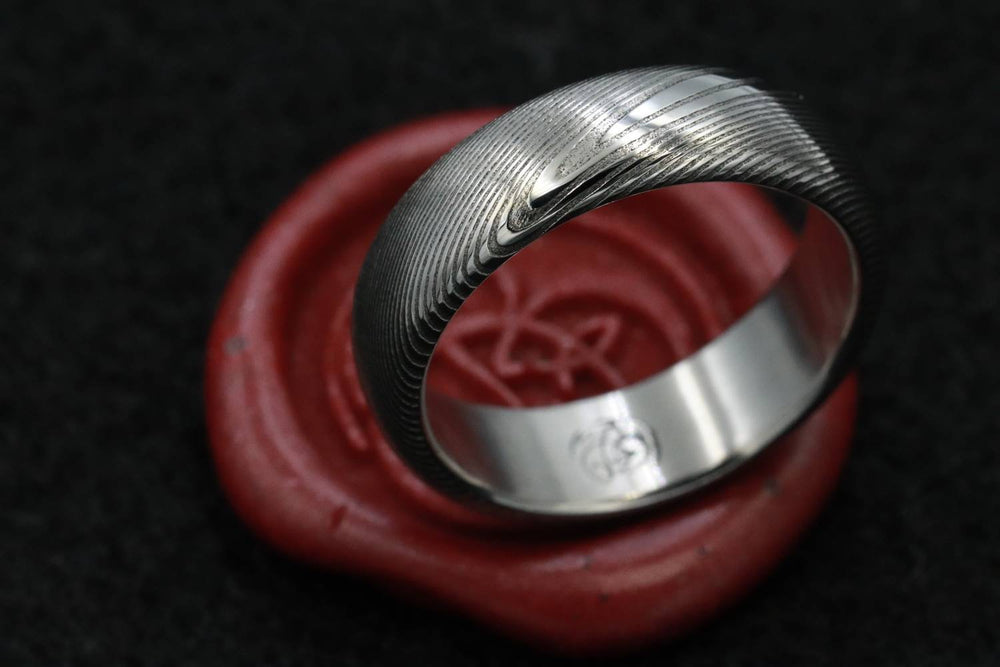 "Damascus ring Stainless steel Damascus ""WOODGRAIN"" Customizable ring! Med /light color etch damascus steel ring wooden ring woodgrain ring"