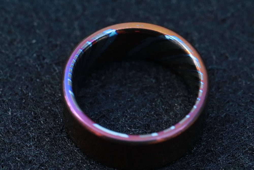 8mm titanium ring Black / ZrTi brushed titanium timascus ring,black timascus ring, mens rings weddingrings, zirconium damascus orange ring