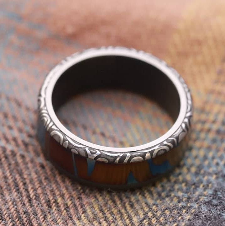 "New*8mm Hawaiian Mokuti ring lined  Timascus ring Mokuti & Stainless Damascus steel ring damasteel ""fenja"" , timascus ring"