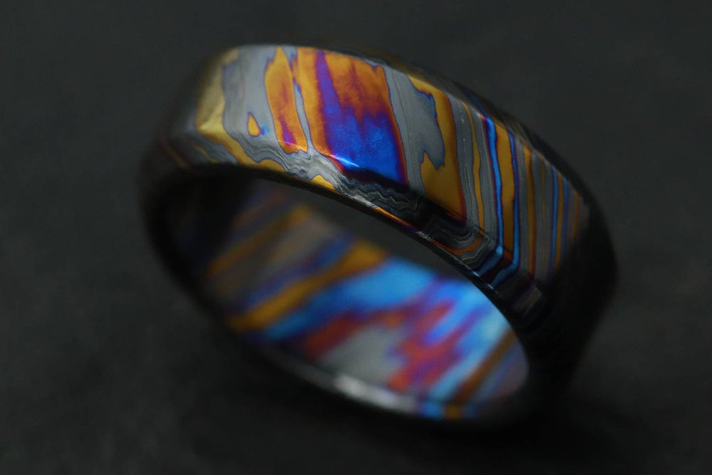 LIMITED EDITION customizable 8mm ring chamfered edge Solid Black Timascus ring 3mm-9mm wide timascus ring, mokuti ring (polished finish)