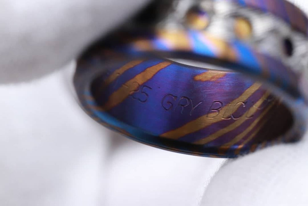 "New*Grayson"" Limited Edition Series-10mm Timascus / Mokuti timascus & damasteel  ring,mens ring, mokuti ring, Damascus ring"