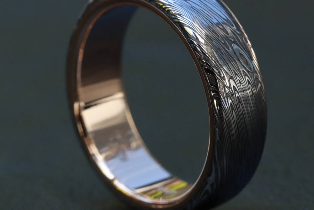 "Gold & Stainless Damascus  7mm ring ""black coral"" stainless damscus steel gold ring 14k 18k mens wedding ring mens rings"