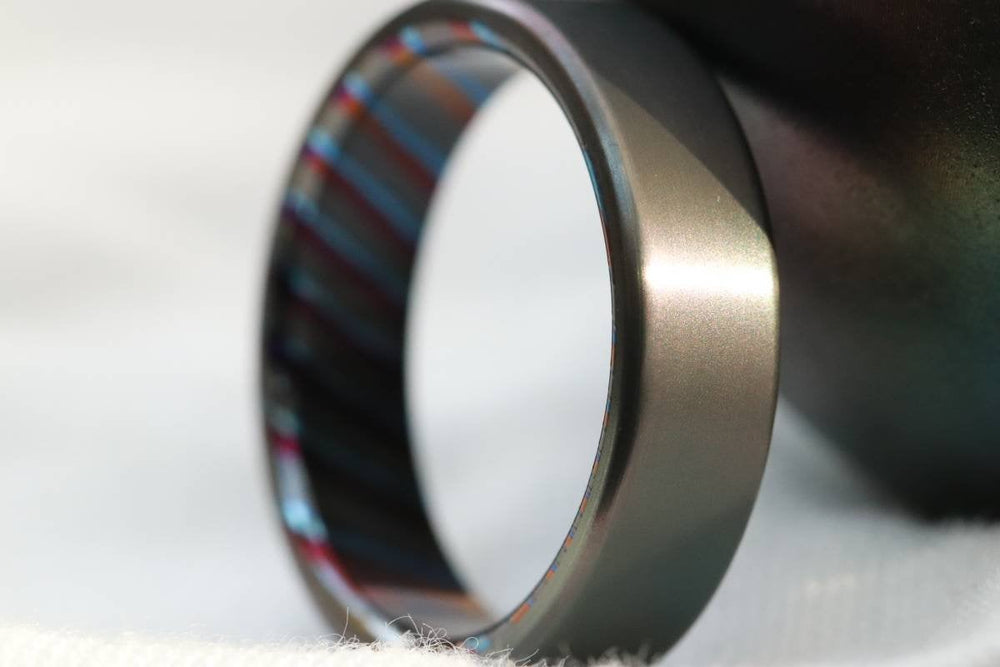 6-8mm zirconium ring Black / ZrTi brushed ziconium timascus ring,black timascus ring, mens rings weddingrings, zirconium damascus