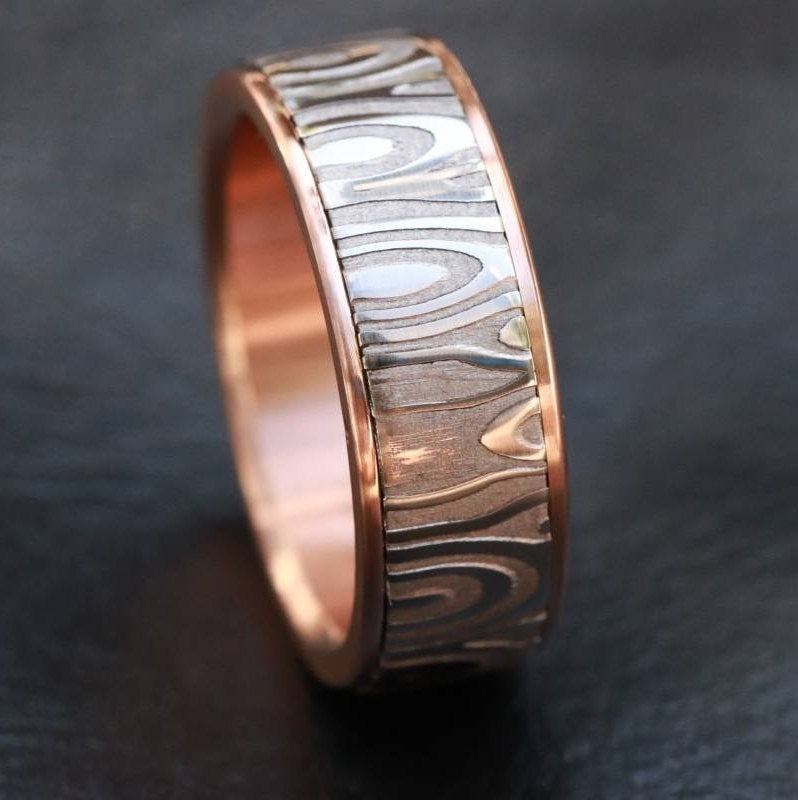 Rose Gold & Stainless Damascus damasteel 14k 18k customizable stainless damascus steel ring gold ring rosegold ring