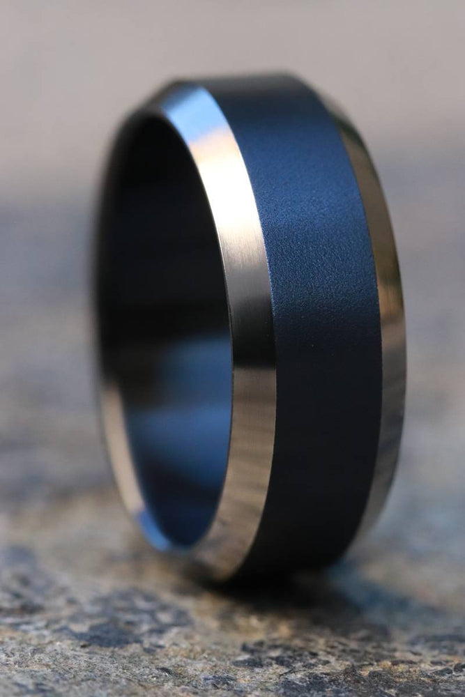 Black titanium ring 8mm wide black chamfered titanium ring
