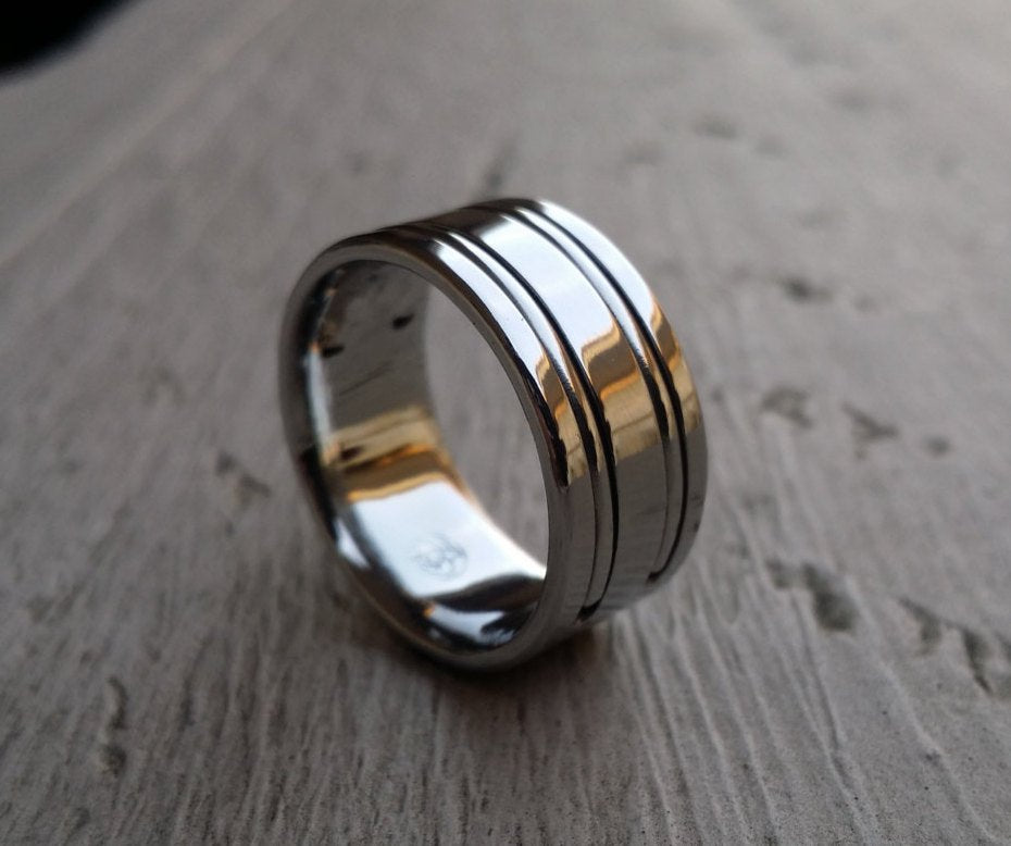 "21 ""DUPLEX"" handmade stainless steel ring (not casted) hypoallergenic mens rings wedding band mens jewelry ring"