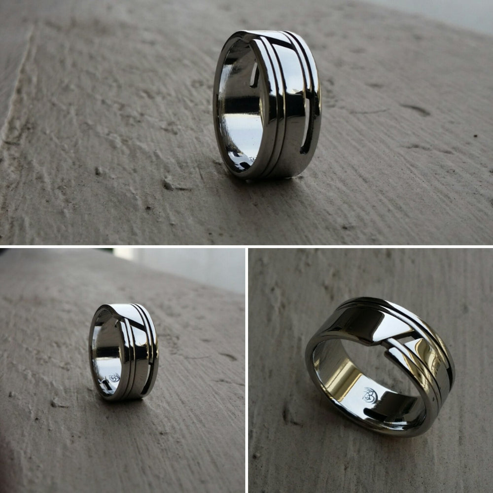 "01 ""EXCLUSIVE"" handmade stainless steel ring (not casted) mens rings, engagement ring, hypoallergenic rings wedding rings band"