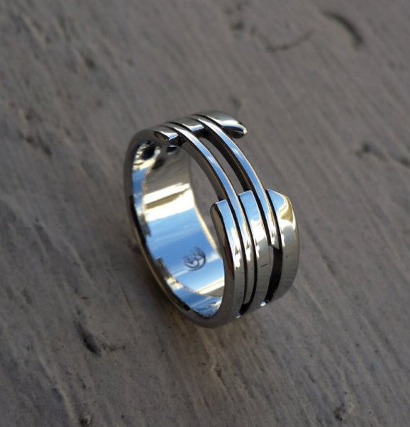 "32 ""CARCAJOU"" handmade stainless steel ring (not casted) hypoallergenic mens rings wedding band mens jewelry"