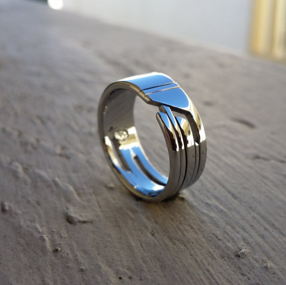 "02 ""STANCHION"" handmade stainless steel ring (not casted)"