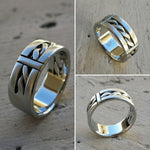 "15 ""BREGDAN 2"" handmade braided ring, stainless steel curb chain ring (not casted) celtic rings braided rings"