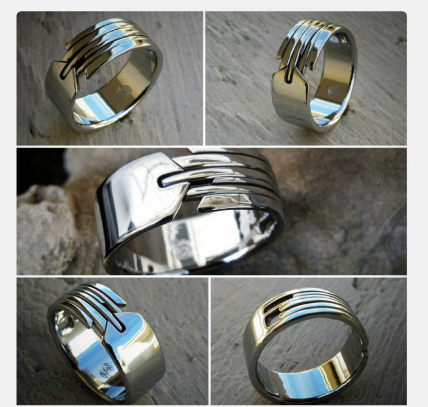 "16 ""QUILL"" handmade stainless steel ring (not casted)"
