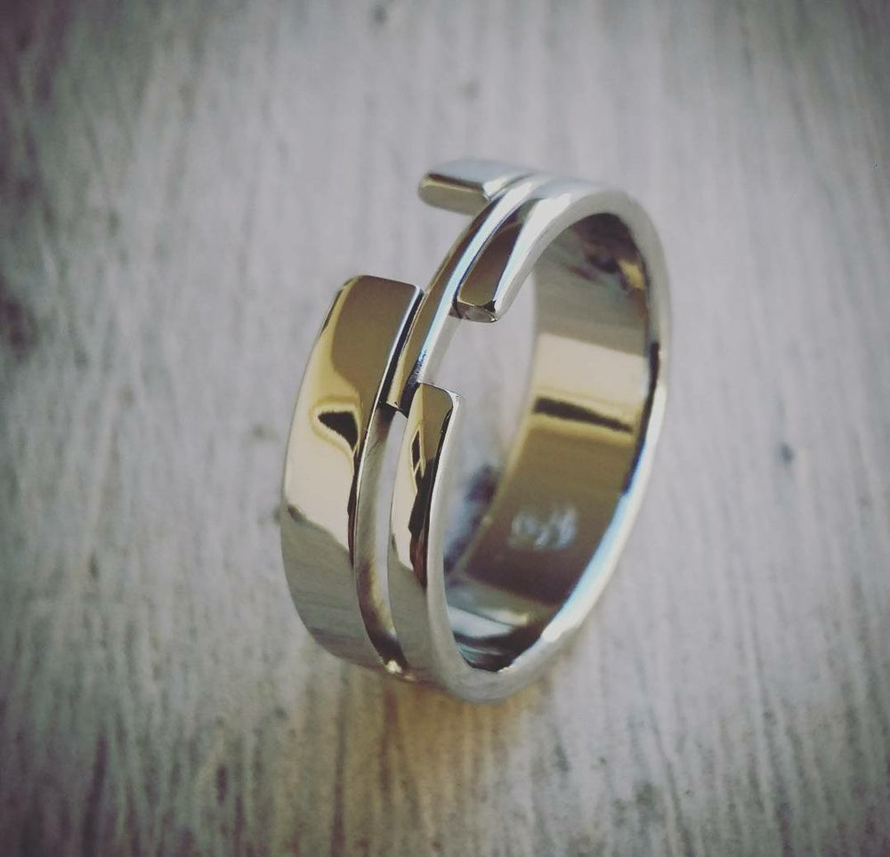 "16 ""TETRIS"" handmade stainless steel ring (not casted)"