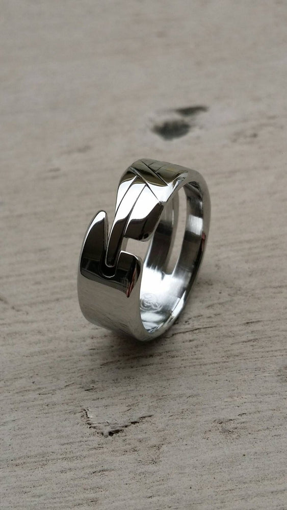 "27 ""LOAM"" handmade stainless steel ring (not casted) hypoallergenic ring, cross ring"