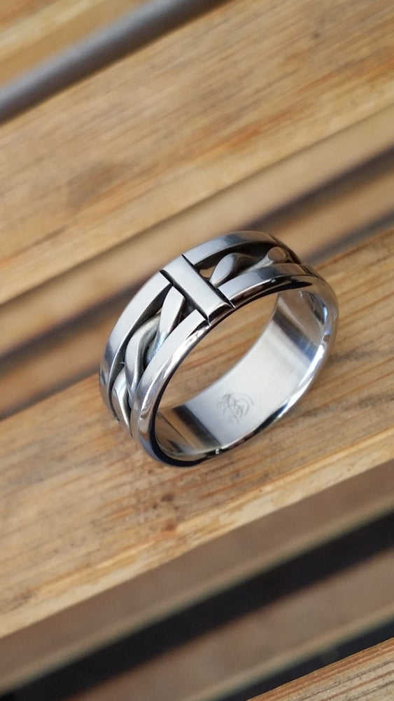 "33 ""BREGDAN"" handmade stainless steel ring (not casted) braided ring celtic rings hypoallergenic jewelry"