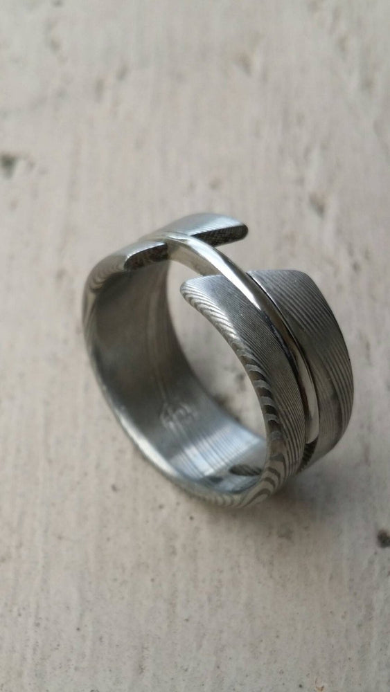 "Stainless steel Damascus  ""DEBONAIR"" handmade ring"